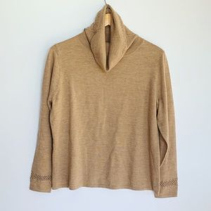 PRESTON & YORK tan merino wool turtleneck size XL